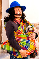 Dog and Chinese woman in Humahuaca, Juyjuy