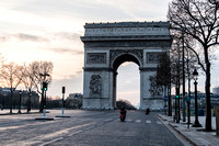 The Arc de Triomphe seen from the Champs ELysee during the  Paris lock down   Photo � Ludo Segers
