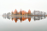 Trakai Castle in fog