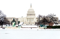 US Capitol and Snow Covered Pool