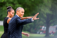 President Barack Obama and Michele in the Rose Garden 2015Departure Charleston
